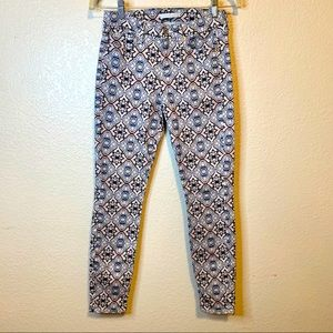 7 For All Mankind Pink White Blue Pattered Jeans